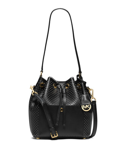 Greenwich Medium Bucket Bag, Black/White