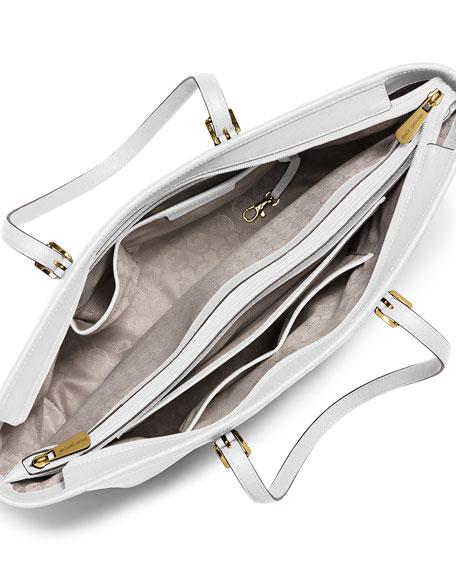 Jet Set Medium Zip-Top Tote Bag, Optic White