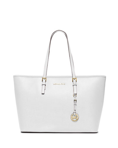 Jet Set Medium Zip-Top Tote Bag, Optic White