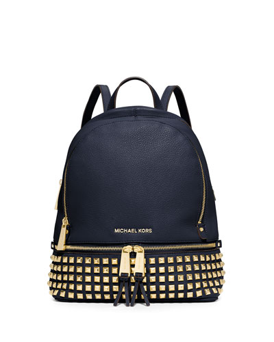 Rhea Small Studded Leather Backpack, Navy