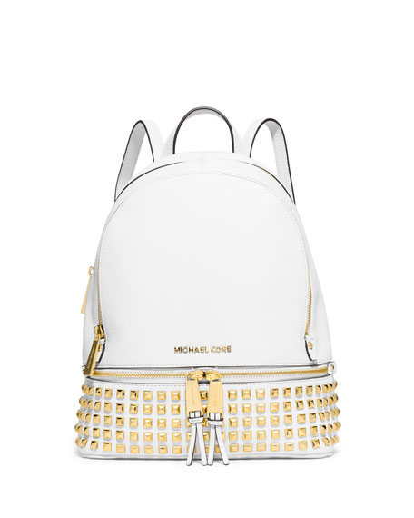 Rhea Small Studded Leather Backpack, Optic White