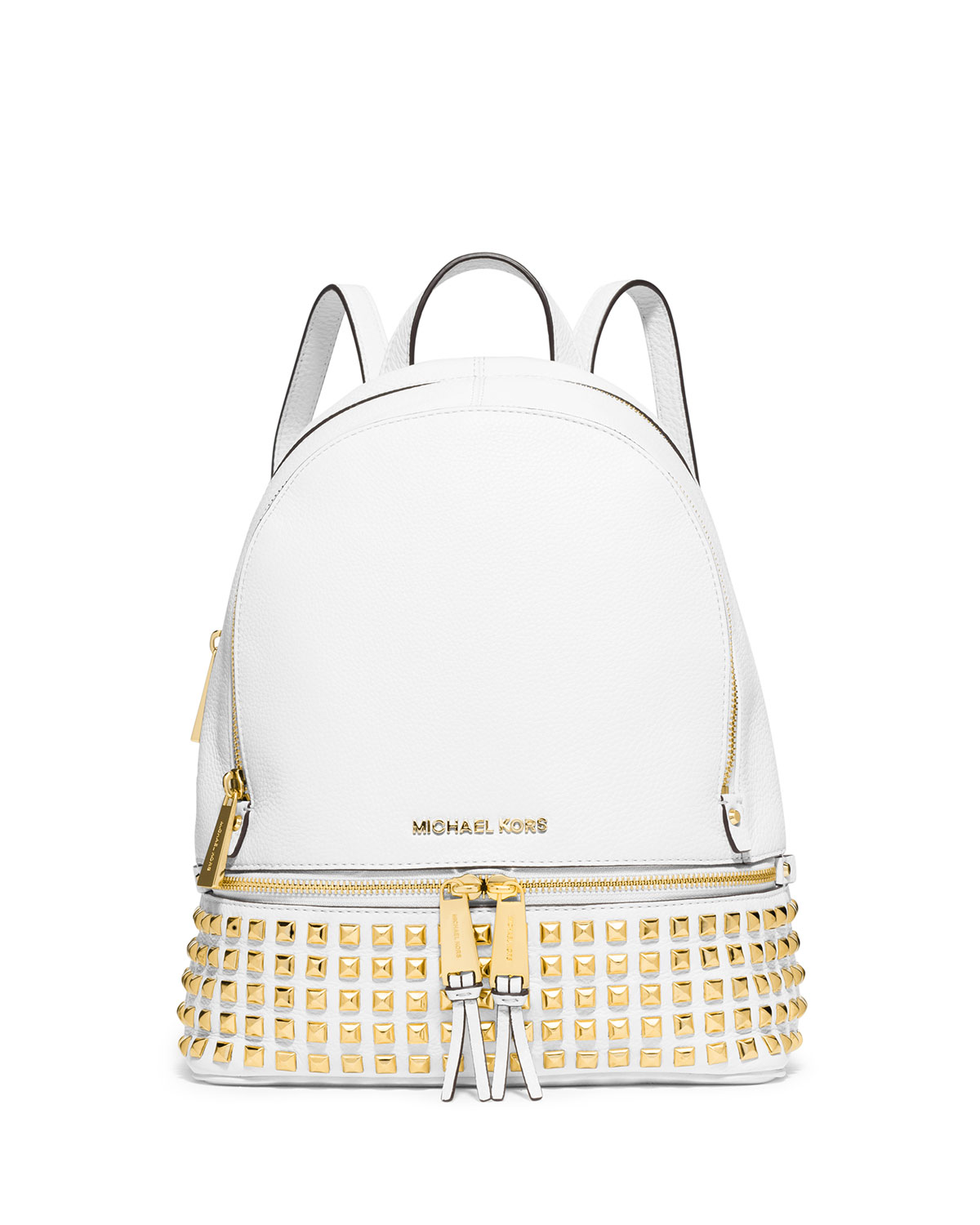 289b6b369f3c MICHAEL Michael Kors Rhea Small Studded Leather Backpack, Optic White