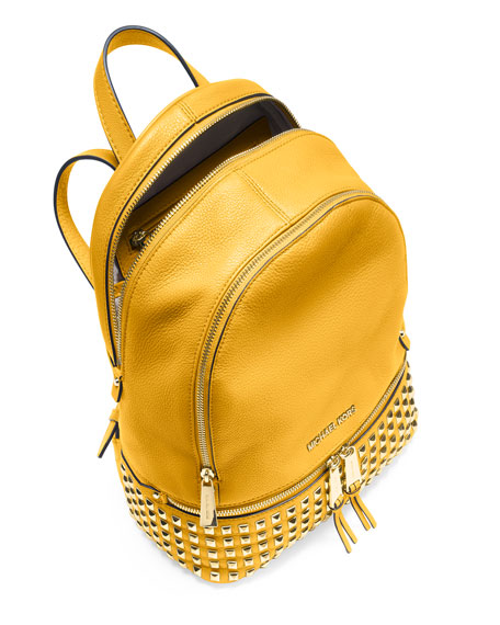 Rhea Small Studded Leather Backpack, Sunflower