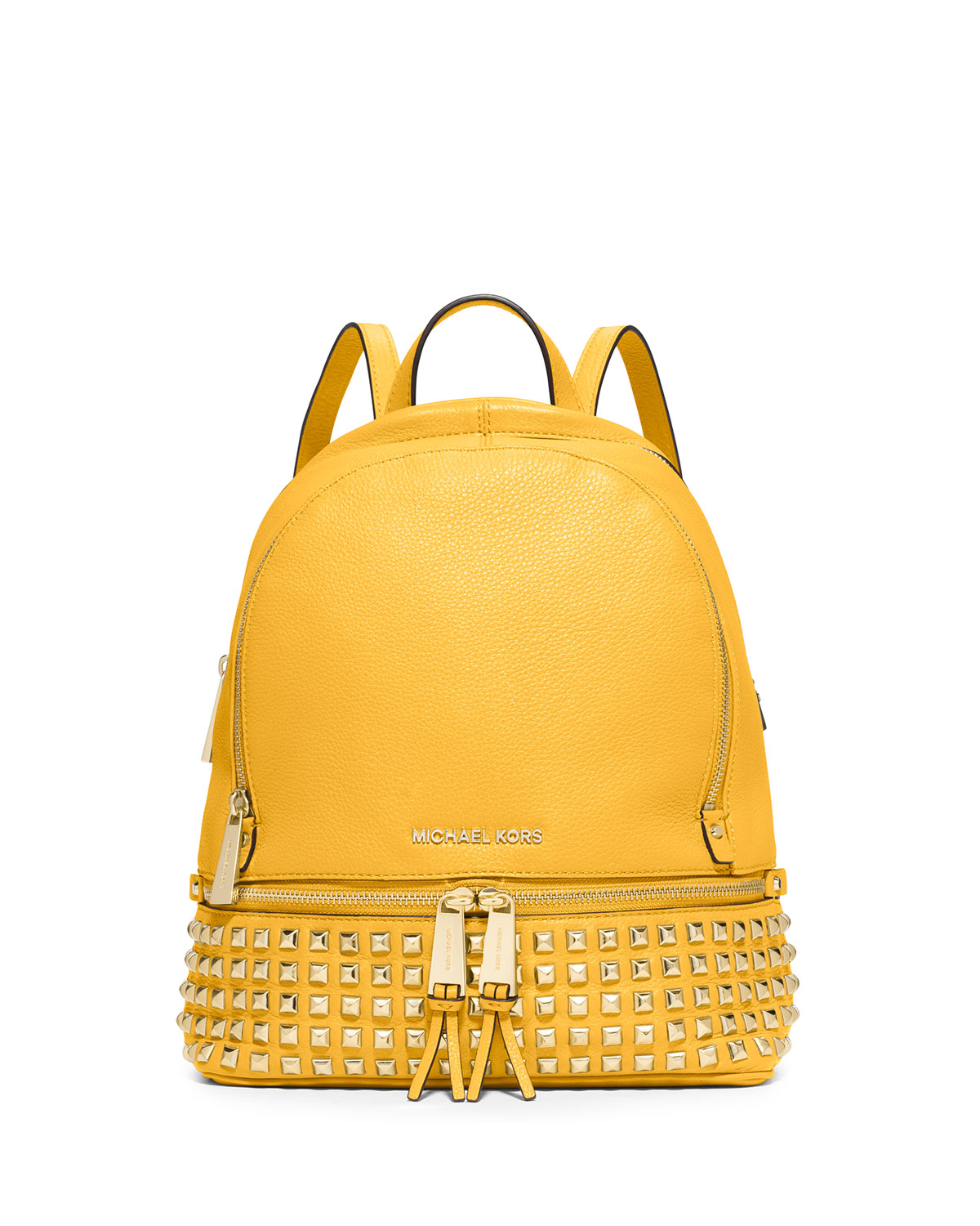 19faa02a109 MICHAEL Michael Kors Rhea Small Studded Leather Backpack, Sunflower ...