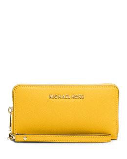 Jet Set Travel Saffiano Wristlet Wallet, Sunflower