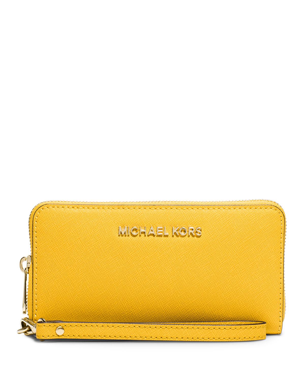 b5ac91554017 MICHAEL Michael Kors Jet Set Travel Saffiano Wristlet Wallet, Sunflower