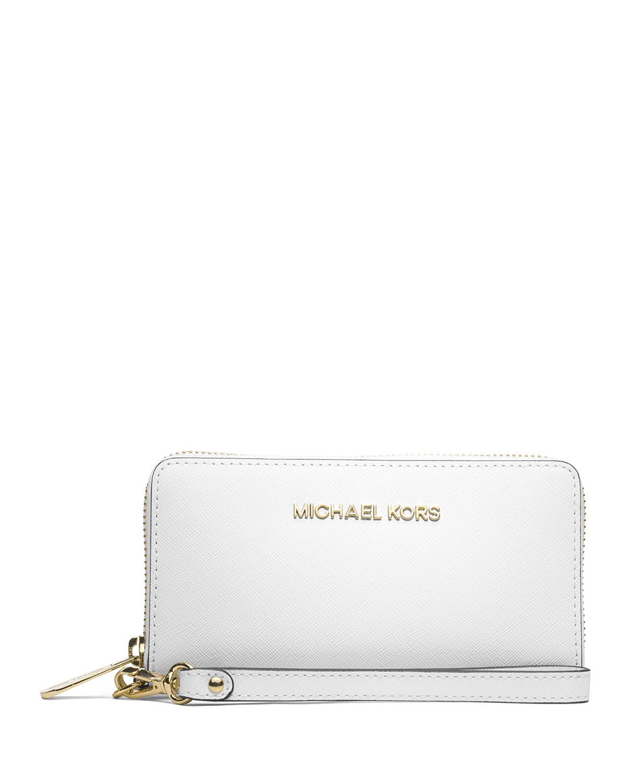 f2eb9ee74129 MICHAEL Michael Kors Jet Set Travel Saffiano Wristlet Wallet, Optic White
