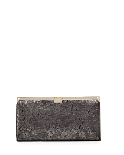 Camille Lace Frame Clutch Bag, Anthracite