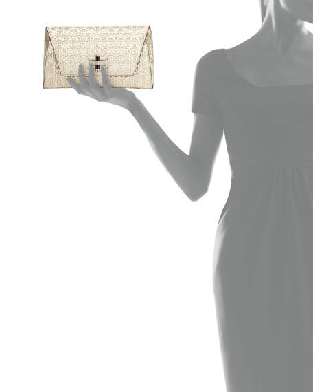 Diane von Furstenberg 440 Gallery Uptown Basketweave Clutch Bag, Light Gold