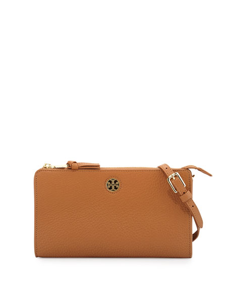 Tory Burch Robinson Pebbled Leather Crossbody Wallet, Bark