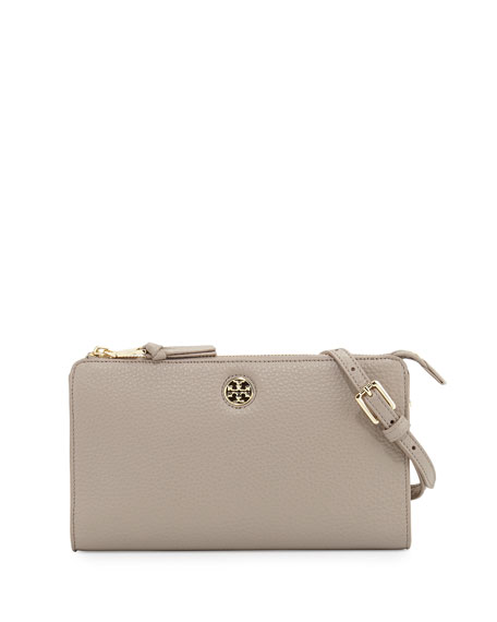 Tory Burch Robinson Pebbled Leather Crossbody Wallet, French