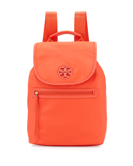Tory Burch Nylon Flap-Top Backpack, Poppy Red