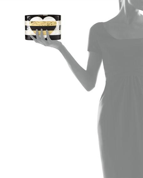 Andra Flask Minaudiere, Black/White Golden