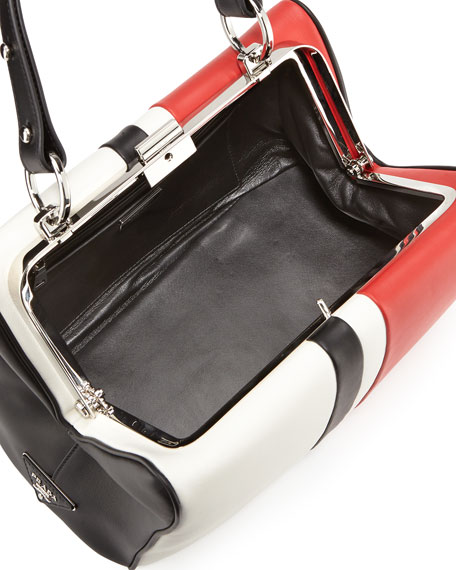 Baiadera Arcade-Stripe Leather Satchel Bag, White/Red/Black (Bianco+Fuoco+Nero)
