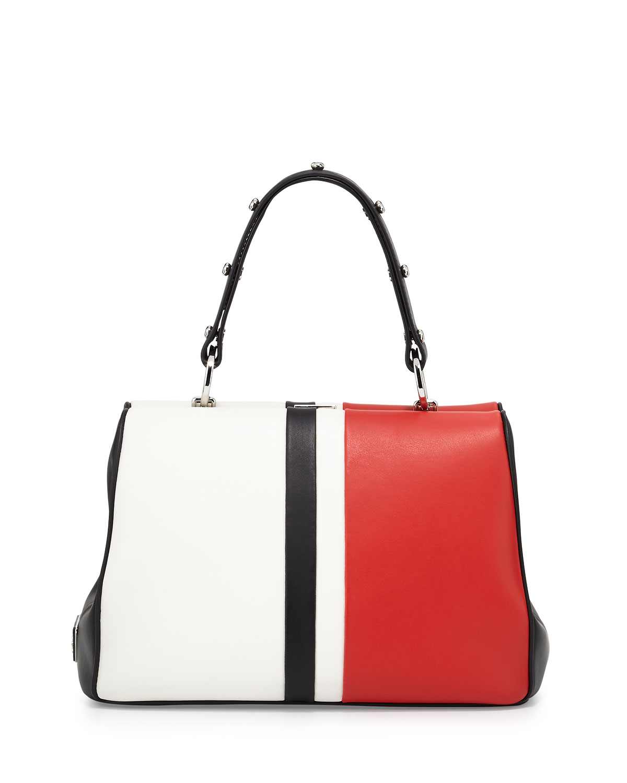 880e64b74470 Prada Baiadera Arcade-Stripe Leather Satchel Bag, White/Red/Black (Bianco