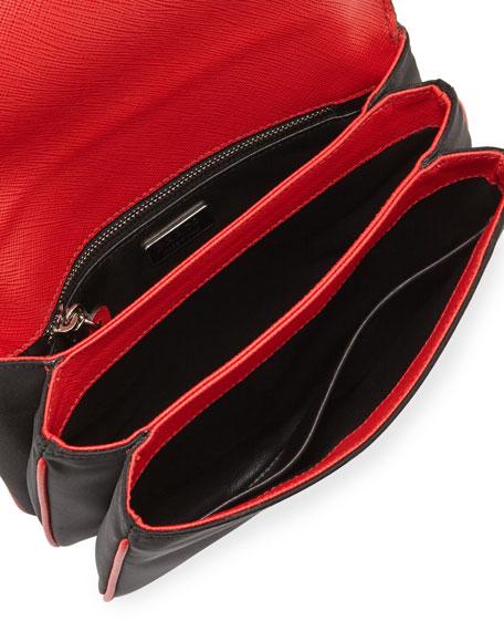 Prada Tessuto \u0026amp; Saffiano Bicolor Shoulder Bag, Black/Red (Nero+Lacca)