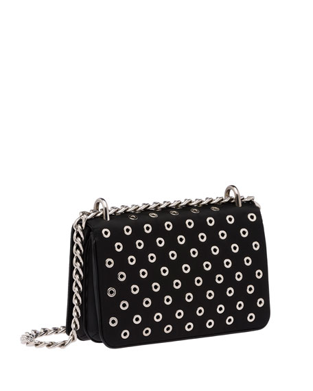 Tessuto/Calfskin Grommet Chain Shoulder Bag, Black (Nero)