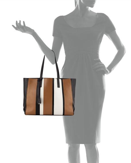 f3ab524fc4ba Prada Leather Baiadera Striped Tote Bag
