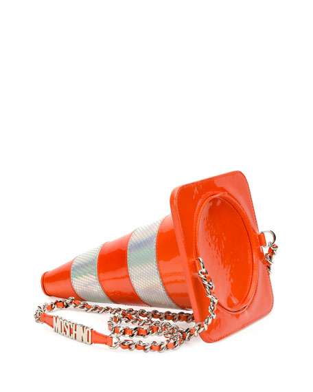 Metallic-Striped Traffic Cone Shoulder Bag, Orange