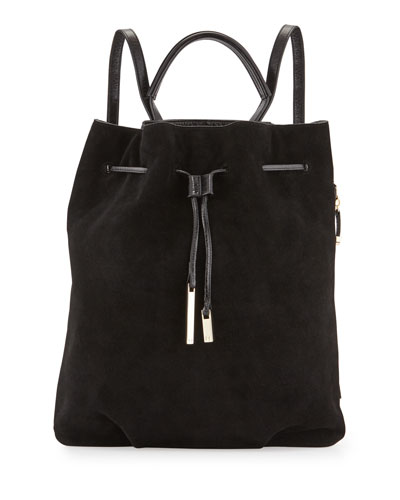 Suede Drawstring Backpack, Black