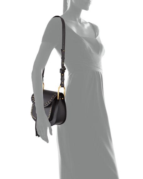 Hudson Large Studded Leather Saddle Bag, Black