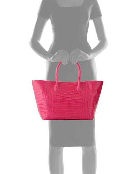 Crocodile Small Convertible Tote Bag, Pink Matte