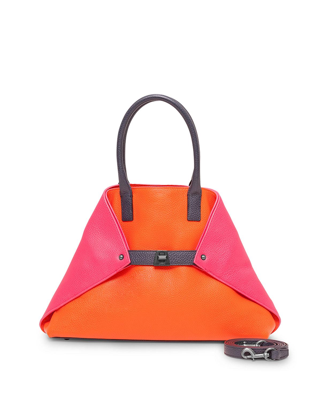 Akris Ai Small Messenger Bag, Orange Multi   Neiman Marcus db9726df5d