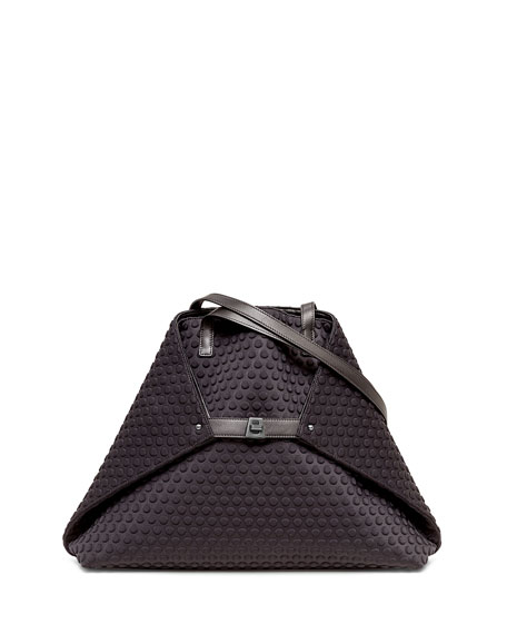 Akris Ai Medium Pebbled Shoulder Bag, Black