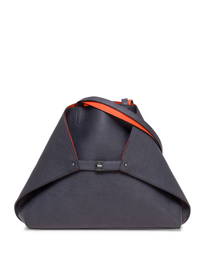 Ai Reversible Medium Tote Bag, Denim/Orange