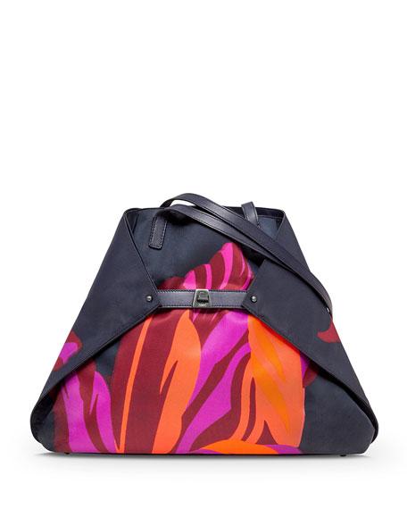 Akris Ai Medium Tulip-Print Shoulder Bag