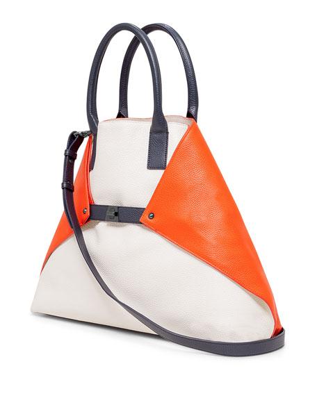 Ai Medium Tricolor Messenger Bag, White/Orange/Navy