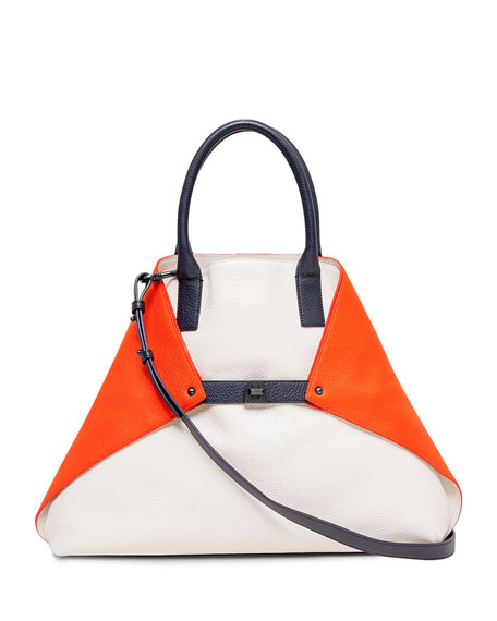 Akris Ai Medium Tricolor Messenger Bag, White/Orange/Navy