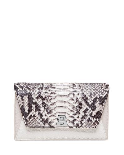 Anouk Python & Leather Chain Envelope Clutch Bag