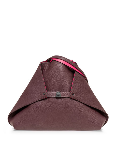 Akris Ai Reversible Medium Tote Bag, Burgundy/Rose