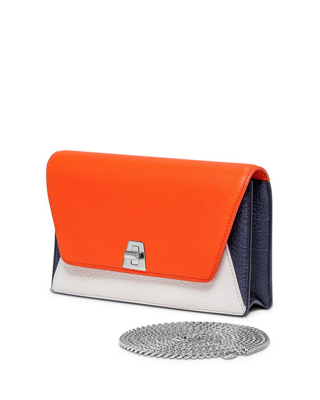 Akris Anouk Leather Chain Envelope Clutch Bag, Orange Multi