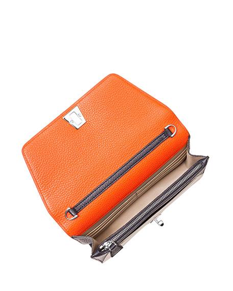 Anouk Leather Chain Envelope Clutch Bag, Orange Multi