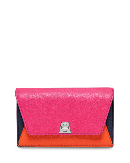 Akris Anouk Leather Chain Envelope Clutch Bag, Rose Multi