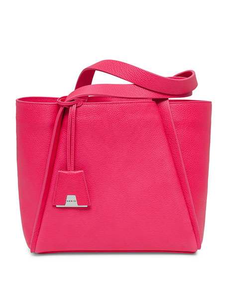 Akris Alex Small Leather Tote Bag, Rose