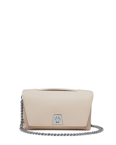 Leather Chain-Strap Flap Bag, Ivory