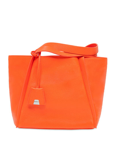 Alex Small Leather Tote Bag, Orange