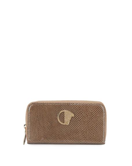 Versace Glossy Snake-Embossed Zip-Around Wallet, Beige/Gold