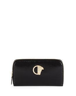 Glossy Snake-Embossed Zip-Around Wallet, Black/Gold