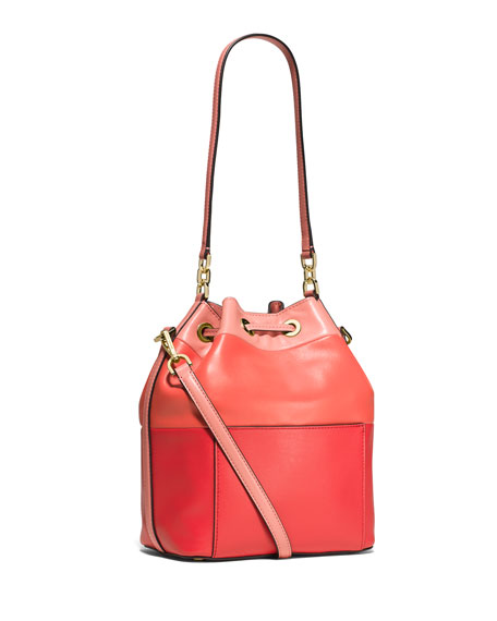 Dottie Degrade Leather Large Bucket Bag, Peach/Grapefruit