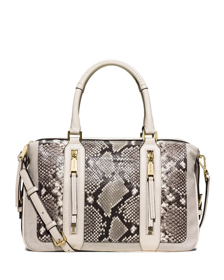 MICHAEL Michael Kors Julia Embossed Leather Satchel Bag,