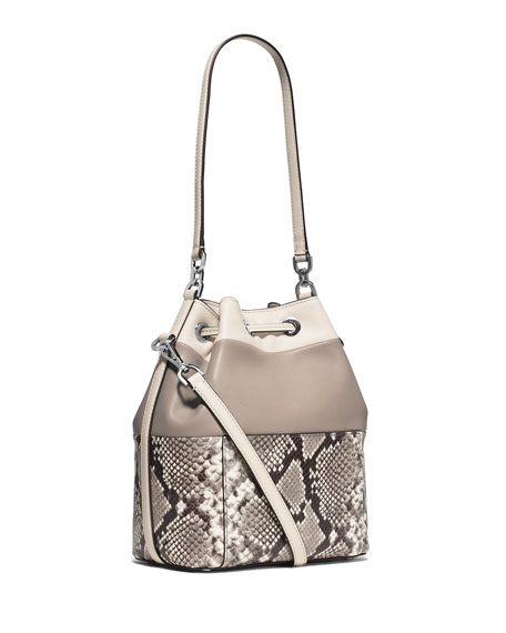 MICHAEL Michael Kors Dottie Large Python-Embossed Bucket Bag, Natural