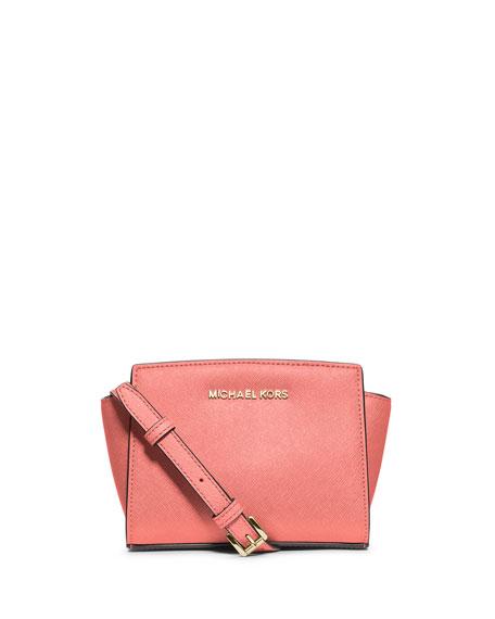 MICHAEL Michael Kors Selma Mini Saffiano Messenger Bag, Pink Grapefruit