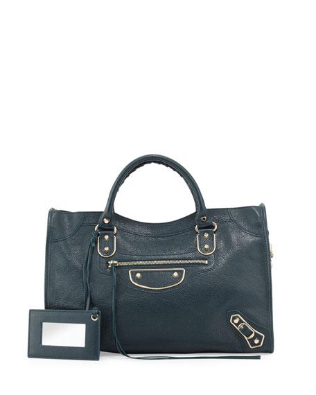 Balenciaga Metallic Edge Classic City Bag, Blue Paon