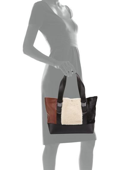 Millie Colorblock Small Tote Bag, Natural/Multi