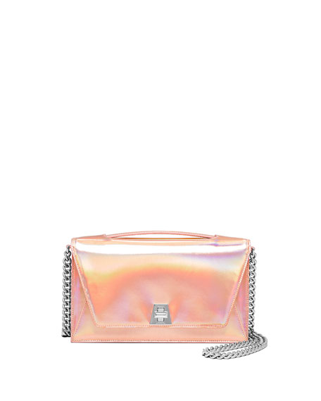 Akris Anouk City Mirrored Leather Shoulder Bag, Rose Gold