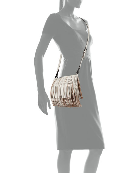 Finn Fringe Leather Crossbody Bag, Putty